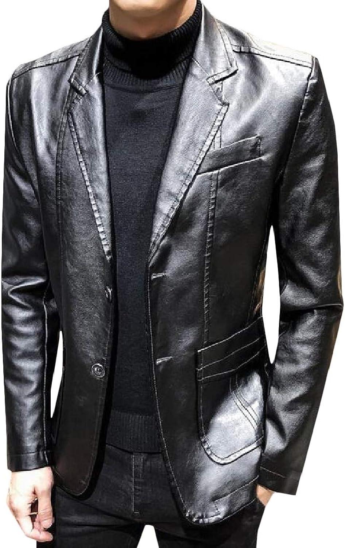 Pandapang-CA Mens Casual Coat Faux Leather Long-Sleeve Blazer Slim Jacket