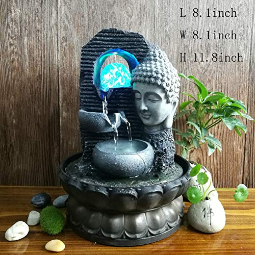 Statues Resin Fountain,Indoor Outdoor Tabletop Fountain Desktop Fountain Decoration Feng Shui Fountain Bonsai Bonsai Resin Decorative Sculpture for Buddha Fountain-Gray 11.8inch