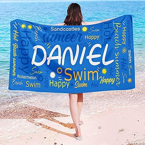 QWAS Toallas de playa sencillas con diseño de dinosaurios, perfectas para playas y piscinas (3,80 cm x 130 cm)