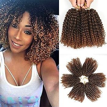 8 Inch Short Passion Twist Crochet Hair 6 Bundles Marlybob Crochet Hair Kinky Curly Crochet Hair for Black Women Crochet Braids Water Wave Crochet Hair for Kids(6Bundles8 Inch 1B/30)