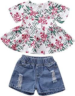 Honykids Toddler Kids Baby Girls Outfits Off-Shoulder Floral Shirt Top Ripped Denim Short Pants