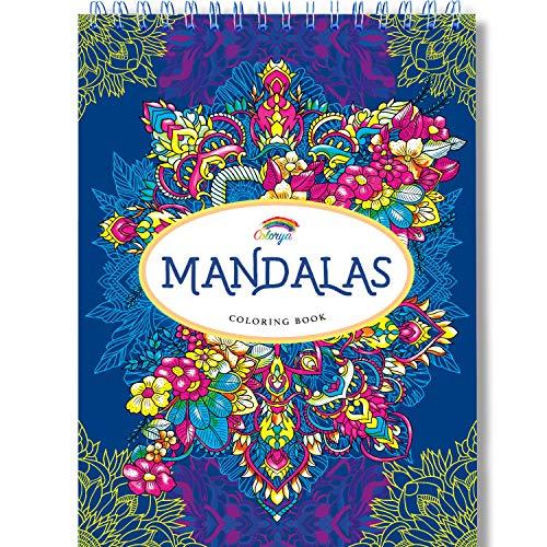 Libros Mandalas Colorear Adultos por Colorya, Papel Calidad Premium, Sin Manchas, Impresión A Una Cara, Libro Tamaño A4 y Espiralado + Ebook Extra con ejemplos, ideas y tips para colorear