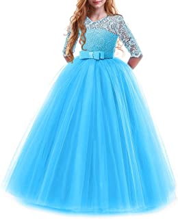 Best Girls Flower Vintage Floral Lace 3/4 Sleeves Floor Length Dress Wedding Party Evening Formal Pegeant Dance Gown Reviews