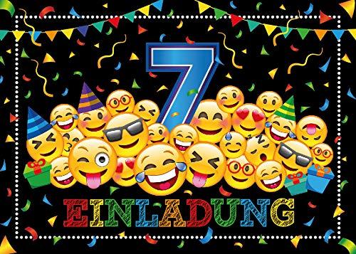 Junaversum 12 Einladungskarten zum 7. Geburtstag Kinder siebte Kindergeburtstag