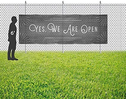 CGSignLab Yes We are Open 9x3 Chalk Corner Wind-Resistant Outdoor Mesh Vinyl Banner
