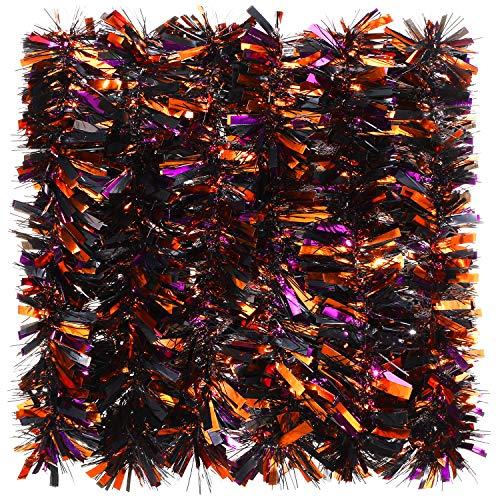 WILLBOND 6 Stück 100 m Halloween-Girlande, gedrehte Girlande, glitzernde Lametta-Girlande, gemischte Farben, Metallic-Lametta-Dekoration für Halloween-Partys (schwarz, orange und lila gemischt)