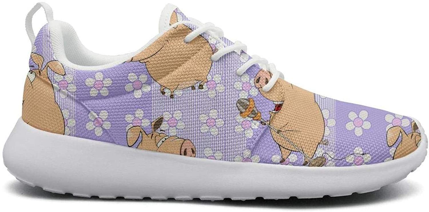 Gjsonmv Guitar Pigs with Purple Flowers mesh Lightweight shoes for Women Comfortable Sports Track Sneakers shoes