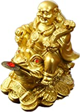 Feng Shui Polyresin Laughing Buddha Sit on Money Frog (Three Legged Toad) Statue Home Office Décor Gold