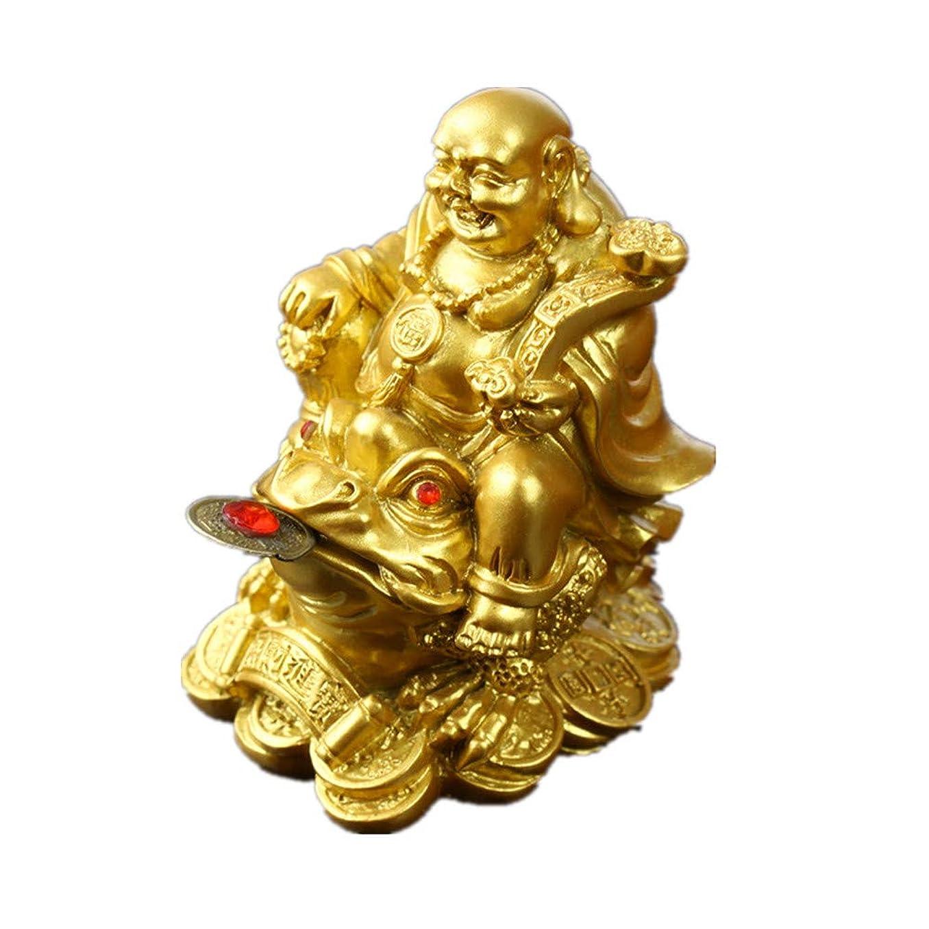 シード肘情熱的Feng Shui ポリレジン笑顔 ブッダ 座るカエル (レギンス3つ) 像 ホーム オフィス 装飾 ゴールド