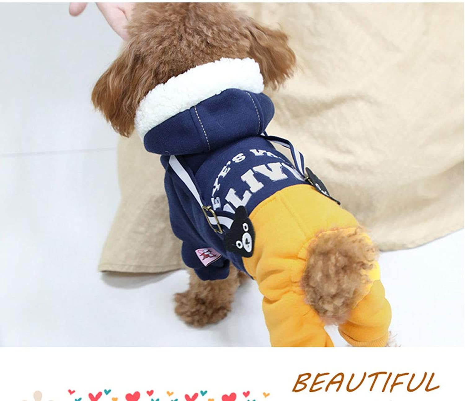 HONGNA Autumn and winter clothing new dog bib pet clothes Teddy small dog fourlegged clothes,bluee,L