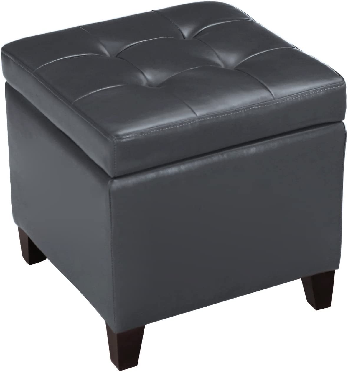 Decent Home 18x18 Max 89% OFF Cheap mail order shopping Faux-Leather Square Hinge with Storage Ottoman