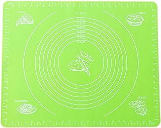 ounona alfombrilla stendipasta Alfombra de pastelería de silicona spianatoia de trabajo con tamaño circular alfombrilla profesional para trabajo de pasta/pizza y dulce 50cm x 40cm (verde claro)