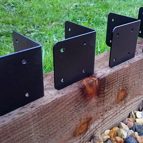 4 x Eck-Klammern / Eck-Profile für Holz-Einfassungen an Gehwegen, Hochbeeten / Beeten, schwarz