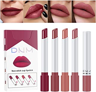 Matte Cigarette Lipstick Pack Set Mini Listick Kit, 4 Colors Matte Metallic Non-stick cup Velvet Lipstick,Long Lasting Waterproof Easy To Color Cute Tube Women Make up Cosmetic Lipsticks 4-Pack (Set01)