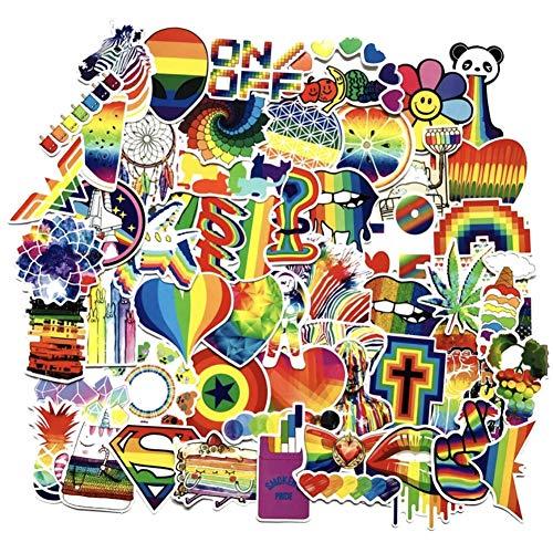 CheeseandU 60Pcs Rainbow Color Gay Pride Sticker Waterproof PVC Bright Rainbow Stickers Water Bottle Car Bike Scooter Suitcase Phone Refrigerator Laptop Cup Motorcycle Walls Bedroom Furniture Stickers