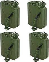 Clever Market Gas Fuel Tank Jerry Can Automotive Steel Green Emergency Tank Backup NATO Style Army Gasoline Jerry Cans Lot Military Tank 5 Galon 20L Set of 4