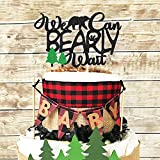 Lumberjack Baby Shower Cake Topper We Can Bearly Wait Diaper Cake Decoration Rustic Hunter Camping Themed Woodland Forest Baby Shower Party Supplies(Big)