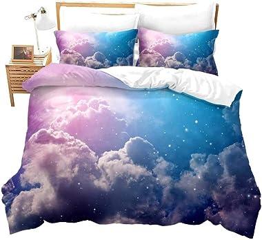 dsgsd Duvet Cover Queen Pink Starry Sky Pattern 170×225cm 3D Bedding Sets Duvet Cover Twin Single Double Queen King Bedclothe