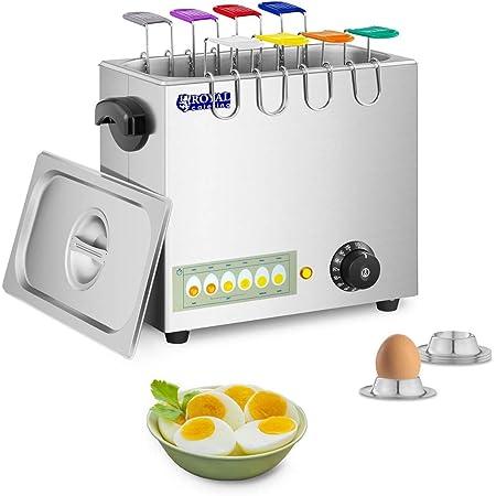 Royal Catering Cuiseur à oeufs cuit-œufs électrique coquetier professionnel RCEB-8T (2 600 watts, Jusqu'à 8 œufs, Acier inoxydable, 8 cuillères à œufs, 4 coquetiers)
