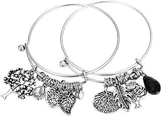 HONGYE 1 Set 2 Pcs Tree of Life Leaves Feather Rhinestone Pendant Bangle Bracelet