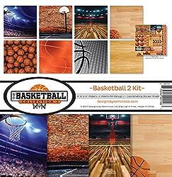 "commercial Scrapbook Set Reminisce Basketball Collection 2, Vin Tall, 27.6 X35.4"" scrapbook kit clubs"