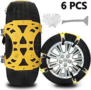 Buyplus Upgrade Snow Chains for Cars – 6 Set Emergency Anti Slip Tire Straps, Car..