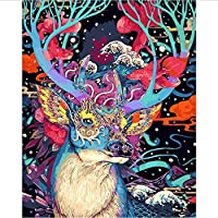 DIY 数による絵画 クリスマス鹿動物デジタル油絵キット手塗り油絵家の壁のアートワークのための特別なギフト-40*50cm
