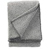 Klippan Decke, Überwurf aus 100prozent Schafwolle, Motiv: Domino, 130x 180cm, Wolle, dunkelgrau, 180x130x0.5 cm