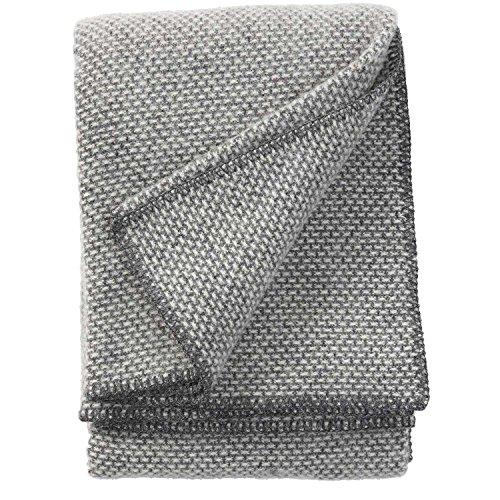 Klippan Decke, Überwurf aus 100% Schafwolle, Motiv: Domino, 130x 180cm, Wolle, dunkelgrau, 180x130x0.5 cm