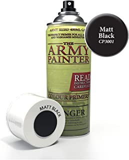 The Army Painter Color Primer, Matt Black, 400 ml, 13.5 oz - Acrylic Spray Undercoat for Miniature Painting