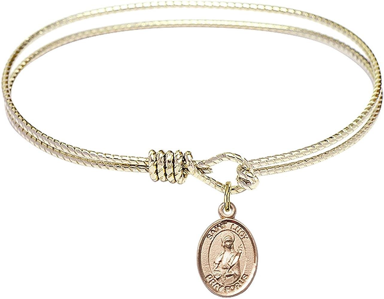 Bonyak Jewelry Oval Eye Hook Bangle Bracelet w/St. Lucy in Gold-Filled