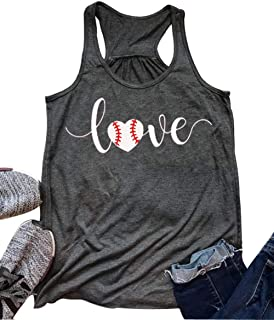 Love Baseball Mom Racerback Tank Tops Women Summer Casual Cute Sleeveless Shirts Tee