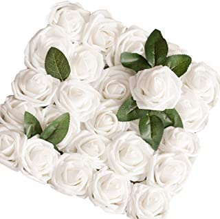 Lmeison Artificial Flower Rose, 50pcs Real Looking Foam Roses w/Stem for Bridal Wedding Bouquets Centerpieces Baby Shower DIY Party Home Décor, White with 4 Leaves