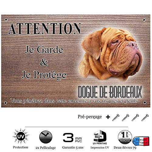 Pets-Easy.com Panneau Attention au Chien personnalisée Dogue de Bordeaux Adulte - pré percée et vis livrées. De 30 cm à 15 cm…