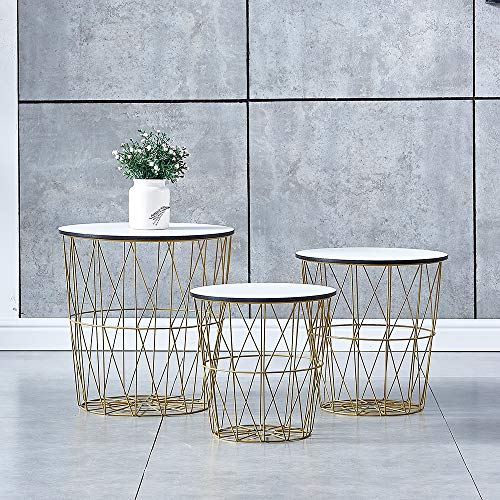 PBPKING Round Nesting End Table with Storage Basket Mid-Century Nested Side Table Living Room Accent Nesting Sofa Side Table (White)