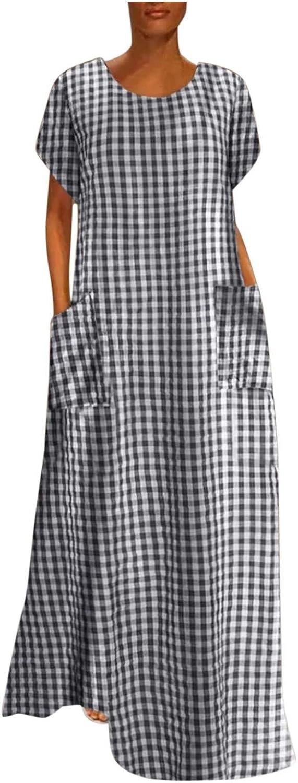 Ladies Summer Round Neck Short Sleeve Multicolor Plaid Oversized Pocket Casual Oversize Dress Long Skirt