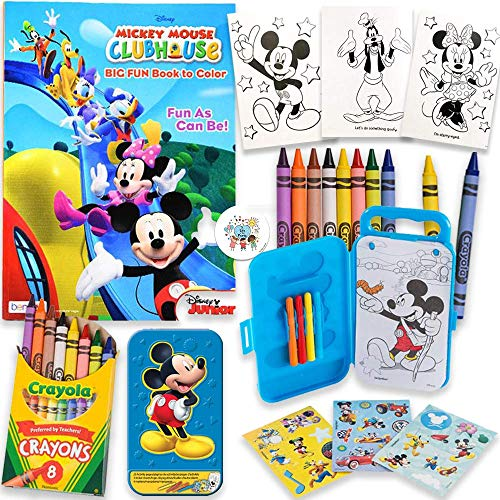 Mickey Mouse 80 Page Coloring And Activity Books With 20 Activity Sheets, Mickey And Friends Stickers, Box, Markers, Crayons and Pin, By Another Dream