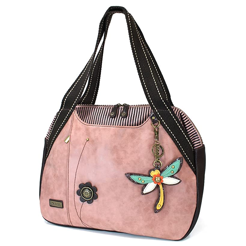 Chala Handbags Pink Rose Shoulder Purse Tote Bag with Bird Key Fob/ coin purse (Dragonfly)
