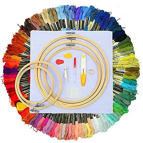 Emwel, set da ricamo per principianti, con 100 fili colorati, 5 telai in bambù, 3 riparazioni, 3 riparazioni, un paio di forbici, un separatore per cuciture, Classic Reserve Aida e set di aghi