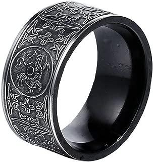 Men's Stainless Steel Ring Ancient 4 Guardian Beast, Dragon, White Tiger, Suzaku, Basalt Carved