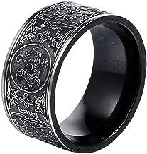 PAMTIER Men's Stainless Steel Ring Ancient 4 Guardian Beast, Dragon, White Tiger, Suzaku, Basalt Carved