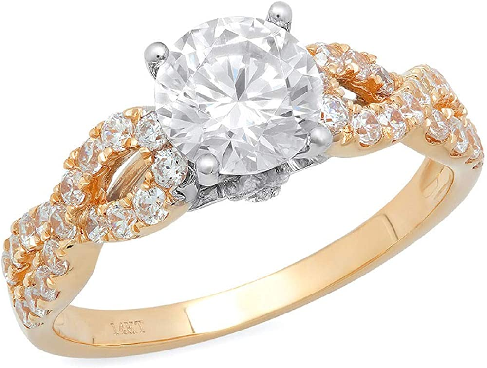 Clara Pucci 1.45 CT Round Cut CZ Designer Pave Halo Ring Band 14k Solid Yellow White Gold Multi Gold
