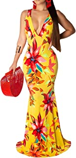 Womens Tie Dye Ombre Maxi Dress - Sexy Racerback Off Shoulder Bodycon Mermaid Long Summer Sundress Dress