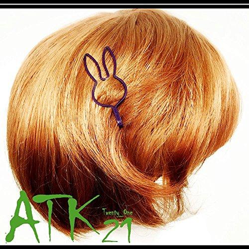 [ATK21]うさぎウサギラビットモチーフマットカラーヘアピン髪どめ前髪キッズレディースヘアアクセサリー(ブラウン)