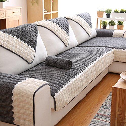 Q&F Sofá Cubierta algodón Color sólido Protector sofás 1 Pieza Antideslizante Resistentes a Las Manchas Máquina Lavable Cubierta del sofá 1 2 3 Sofá 4-Gris 90x270cm(35x106inch)