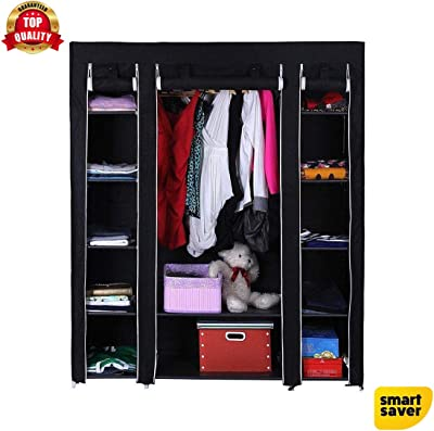 Smart Saver 13 Shelf Closet Organizer Wardrobe Closet Portable Closet Shelves, Closet Storage Organizer Cabinet with Non-Woven Fabric, Quick and Easy to Assemble, Extra Strong and Durable- Black