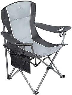 صندلی کمپینگ سنگین کمپینگ CAMPING WORLD صندلی کمپینگ بزرگ تاشو قابل حمل تاشو با 2 نگهدارنده فنجان برای داخل یا خارج - سیاه / خاکستری