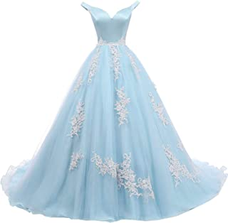 Formal Lady Women's Off Shoulder V Neck Evening Dress Long Lace Tulle Quinceanera Prom Ball Gown