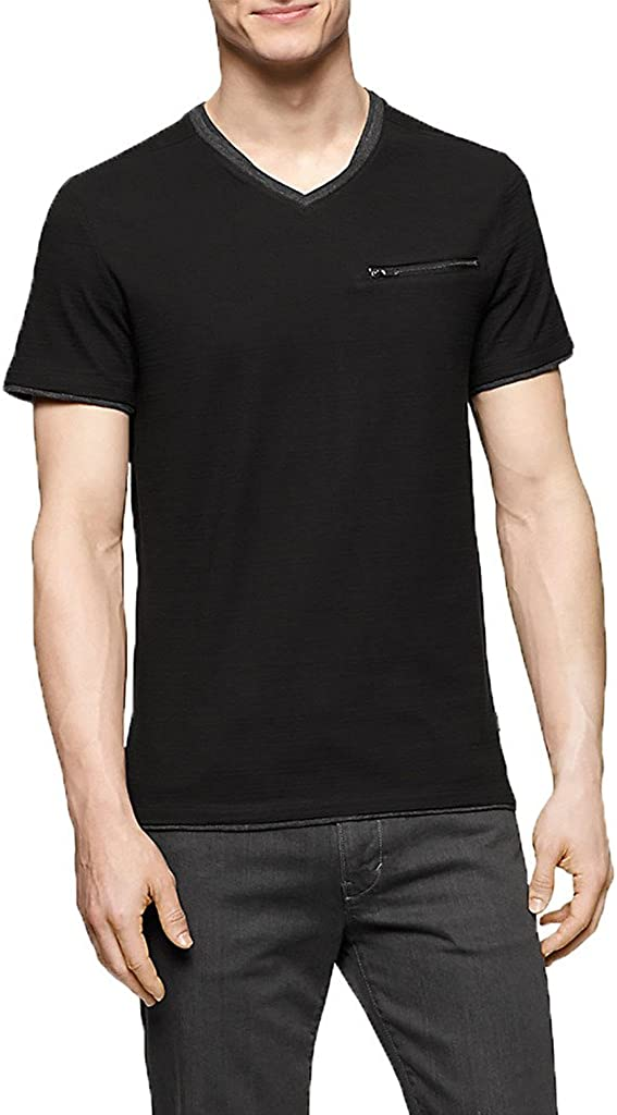 Calvin Klein Men's Brand Cheap Sale Venue Cheap mail order shopping Crew Solid Muti Count Double Tee Layer
