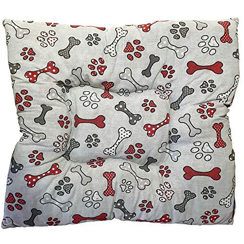 Cama para Perros, Cachorro, Gato Grande o Pequeño, Cama Mascota Acolchado con Dibujos de Huesos y Huellas para Perros, Cómoda y Lavable, 70x70cm (Blanco Hueso Rojo)
